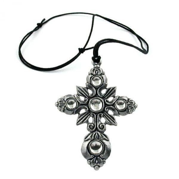 Kette, Zinn, Kreuz mit 4x kristall