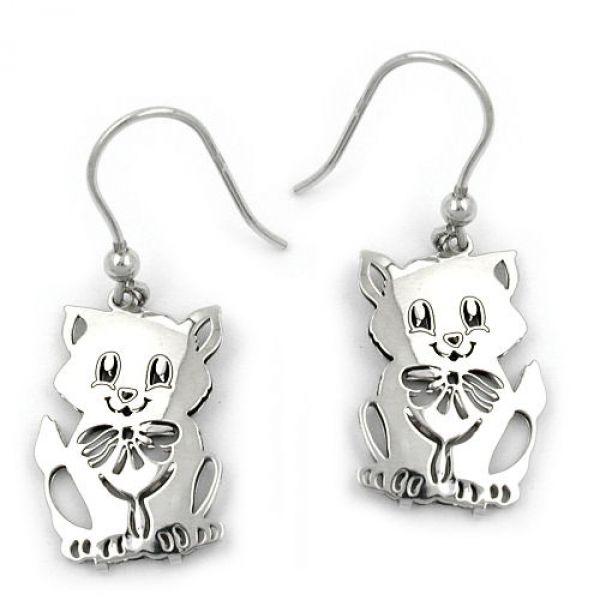 Ohrhaken, Katze, Silber 925
