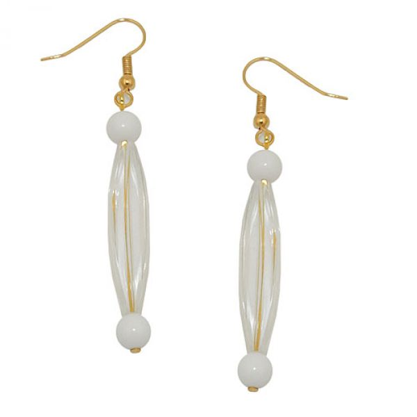 Ohrhaken, Rillenolive kristall, weiß