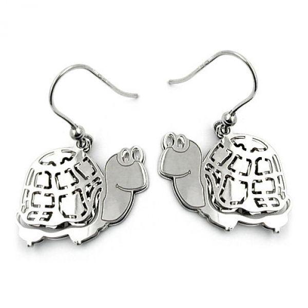 Ohrhaken, Schildkröte, Silber 925