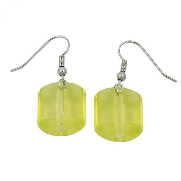 Ohrhaken, Schrägperle grün-transparent