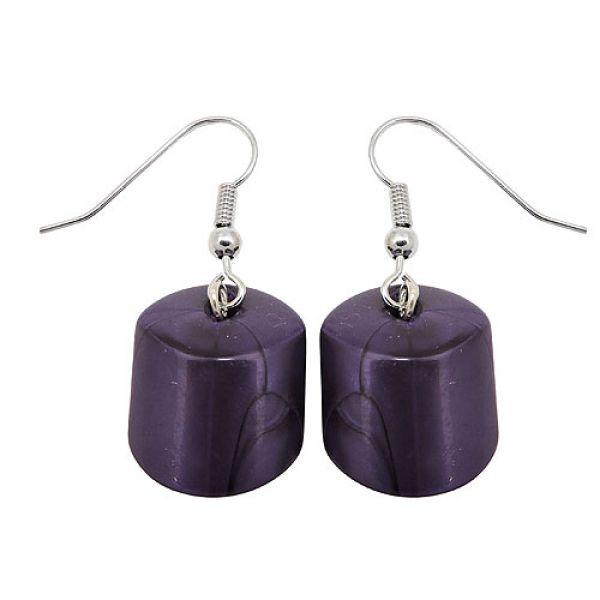 Ohrhaken, Schrägperle lila-metallic