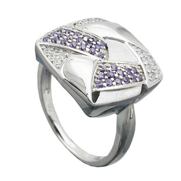 Ring, Viereck, mit Zirkonias, Silber 925