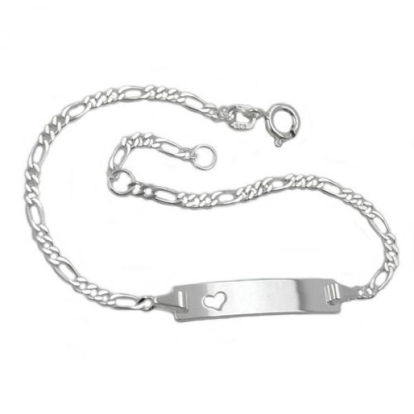 Schildband mit Herz, Silber 925 16cm