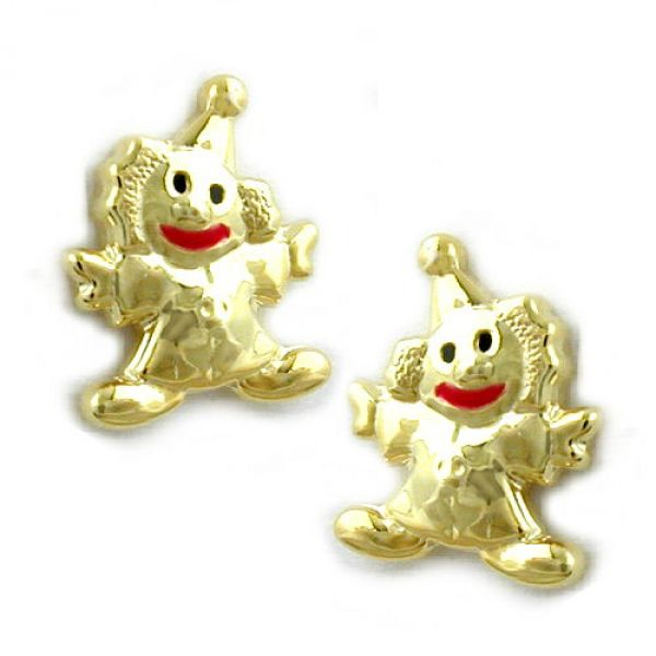Stecker, Clown Mund-rot, 9Kt GOLD