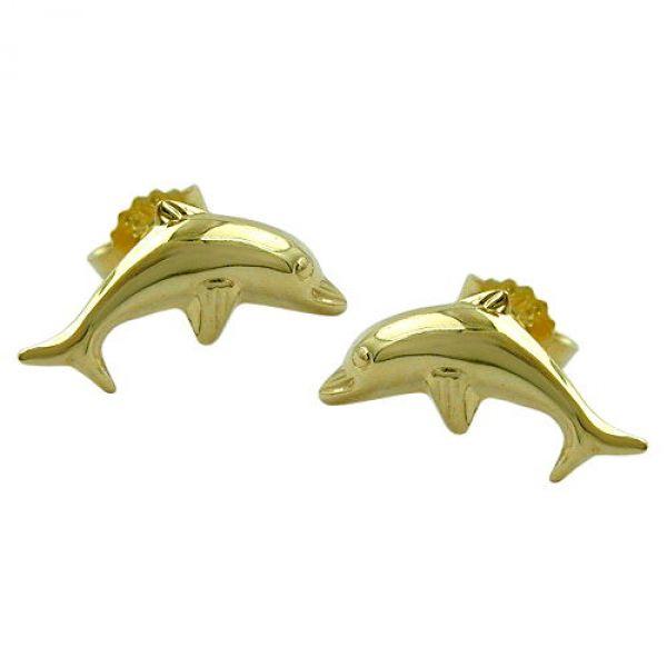 Stecker, Delfin glänzend, 9Kt GOLD
