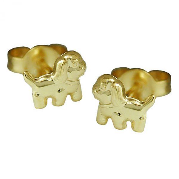Stecker, Hund matt-glänzend, 9Kt GOLD