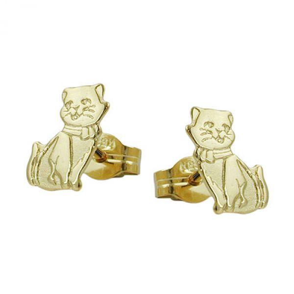 Stecker, Katzen teil-mattiert 8Kt GOLD