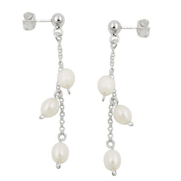 Stecker, Kette mit 3 Perlen, Silber 925