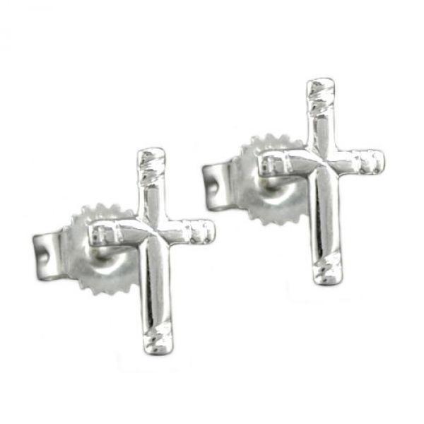 Stecker, Kreuz mit Muster, Silber 925