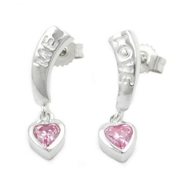 Stecker, LOVE, Zirkonia-pink, Silber 925