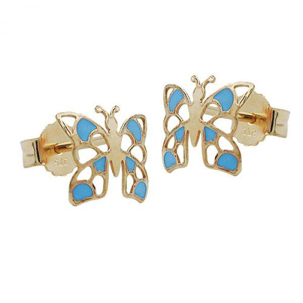 Stecker, Schmetterling blau, 9Kt GOLD