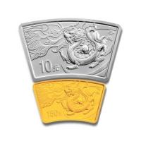 China Lunar Drache (2012) - Silber & Gold Set Fächer