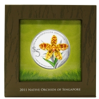 Singapur - 5 SGD Orchidee 2011 Grammatophyllum - 1 Oz Silber