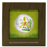 Singapur - 5 SGD Orchidee 2011 Cymbidium - 1 Oz Silber