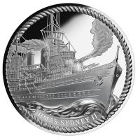 Niue - 1 NZD HMAS Sydney II 2016 - 1 Oz Silber PP HR