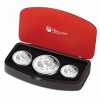 Australien - 3,5 AUD Lunar II Hahn 3-Coin-Set 2017 - 3,5 Oz Silber