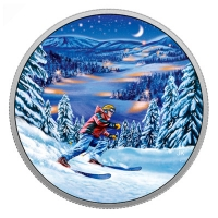 Kanada - 15 CAD Outdoor Nachtskifahren 2017 - Silbermünze